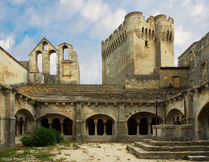 The courtyard of Montmajour Abbey, France.
