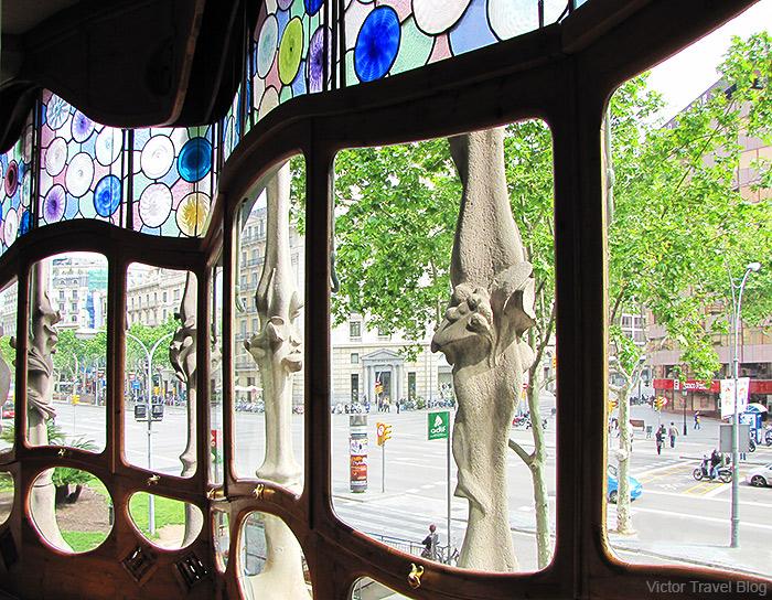 Inside of Casa Batlló by Antoni Gaudi in Barcelona. Catalonia, Spain.