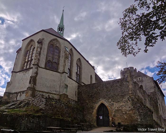 The Gothic chapel of Bezdez Castle. Bohemia, Czech Republic.