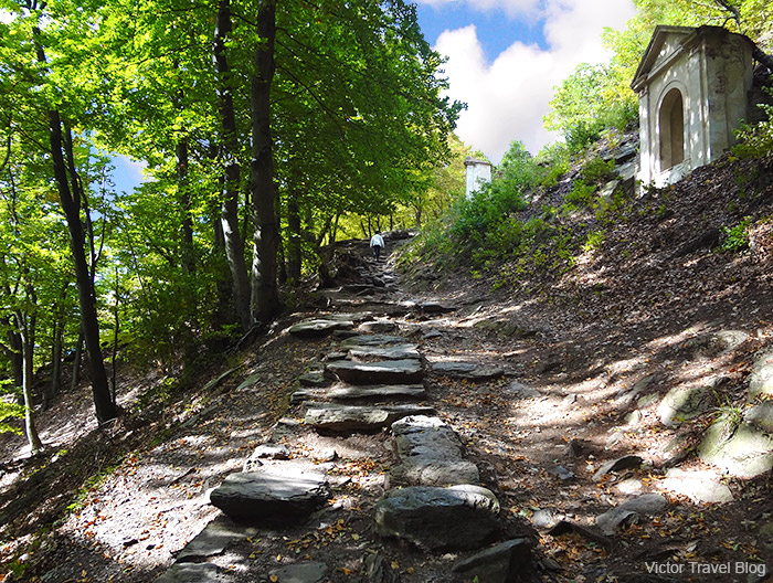 The cross way to Bezdez Castle. Bohemia, Czech Republic.