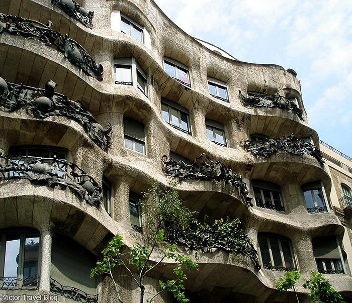 Casa Milà by Antoni Gaudi in Barcelona. Catalonia, Spain.