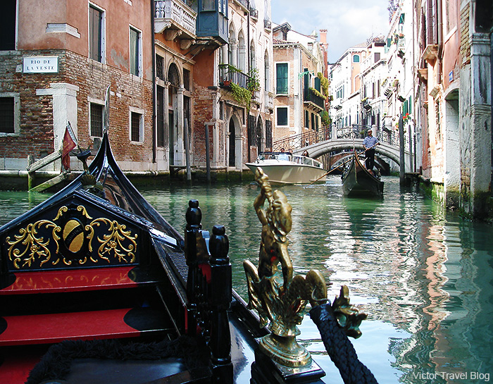 Ride on a gondola. Venice, Italy.