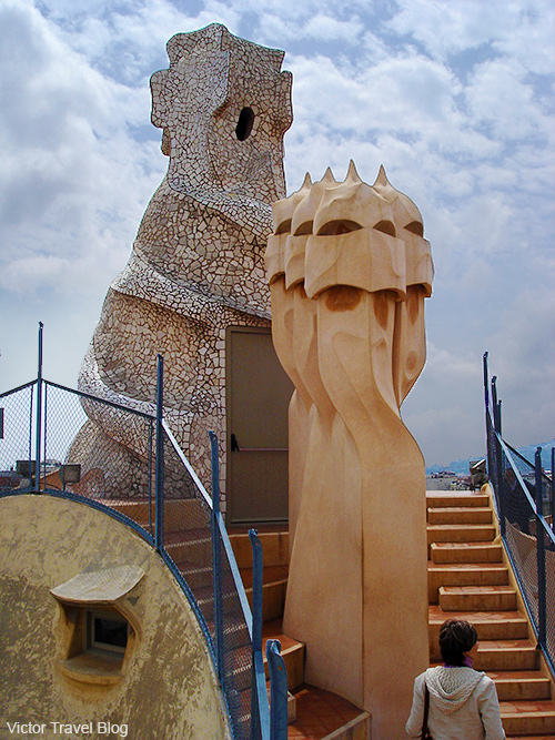 On the roof of Casa Milà by Antoni Gaudi in Barcelona. Catalonia, Spain.