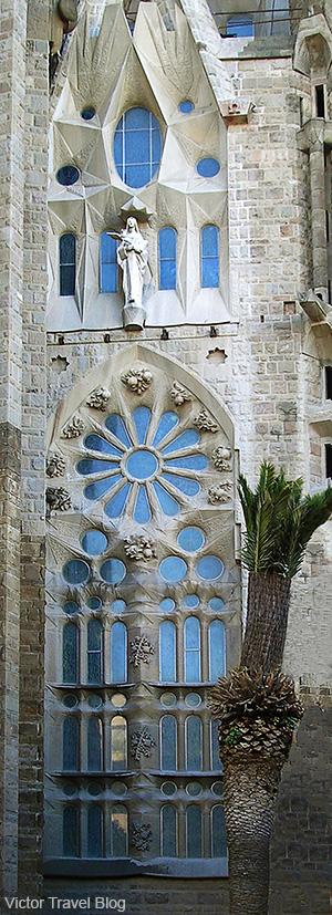 Fragment of Sagrada Familia by Antoni Gaudi in Barcelona. Catalonia, Spain.