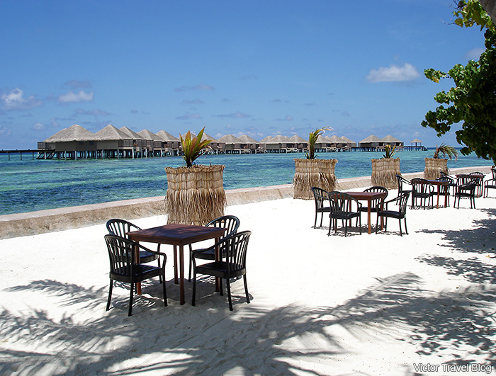 Breakfast on the beach of Reethi Island, the Maldives.