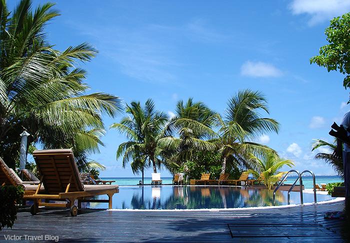 The pool on Adaaran Island. The Maldives.