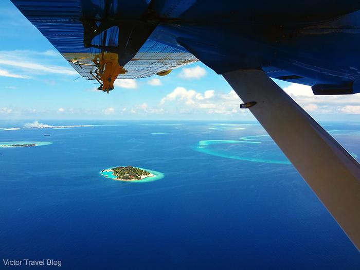 Flight to te Maldives island Reethi.
