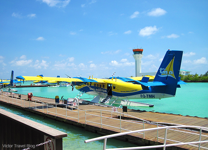 Fly to the Maldives. The airport of Male.