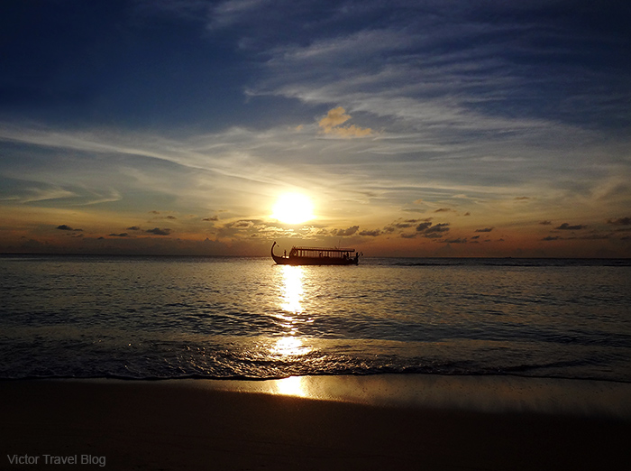 Sunset on the Vilamendhoo Island. The Maldives.