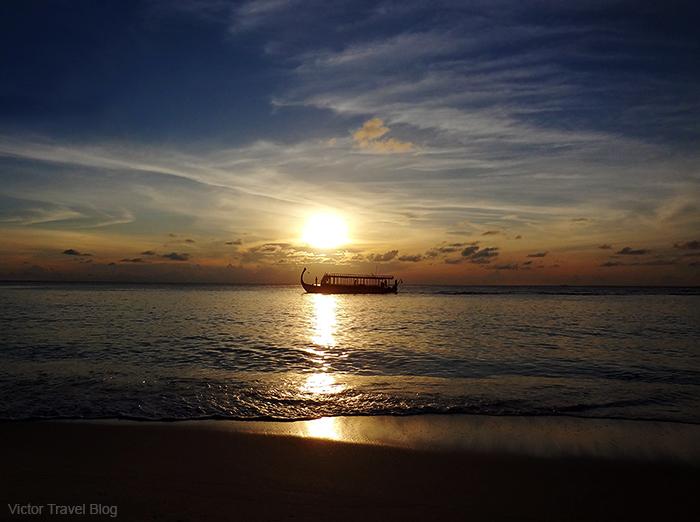 Sunset on the Vilamendhoo Island. The Maldives.