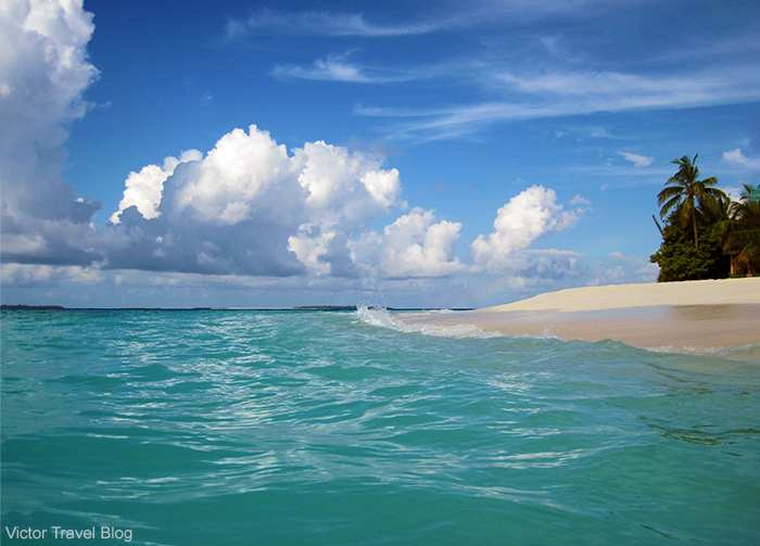 The beach of Reethi Island, the Maldives.