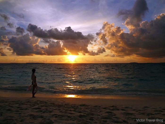 Sunset on the Reethi Beach. The Maldives.
