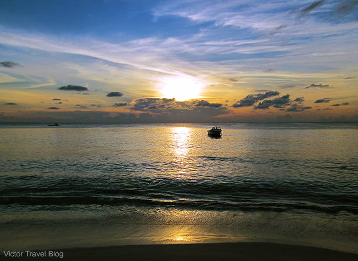 Sunset on the Reethi Beach. The Maldives.