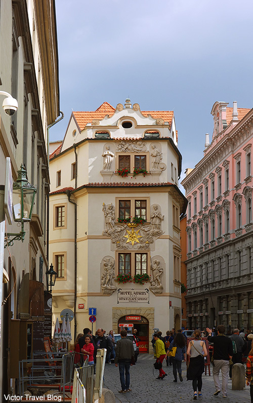 The roguish currency exchange point in the center of Prague on the ground floor of the Hotel Aurus. Prague, Czech Republic.