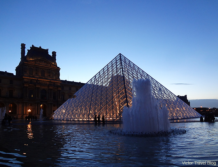 Pyramid in the Louvre Museum. Paris, France.