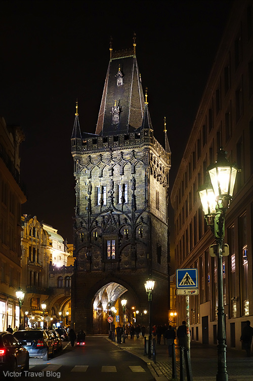 One of the medieval towers of Prague, Czech Republic.