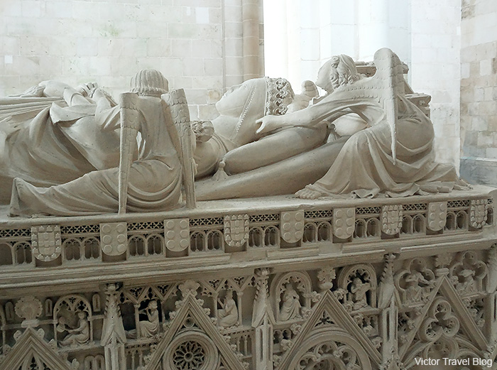 The fragment of Tomb of Ines de Castro, beloved woman of King Pedro. Abbey of Santa Maria. Alcobaca, Portugal.