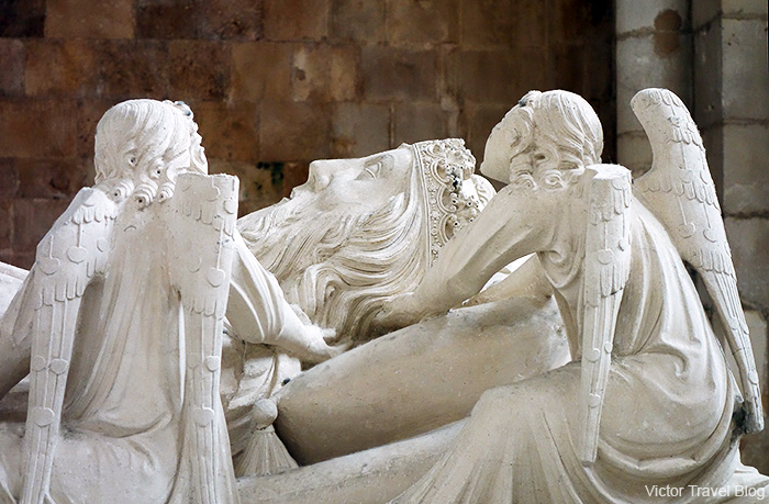 The fragment of Tomb of King Pedro in Abbey of Santa Maria. Alcobaca, Portugal.