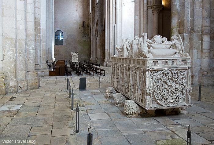 Two tombs: Ines de Castro and Pedro I de Portugal. Abbey of Santa Maria of Alcobaca, Portugal.