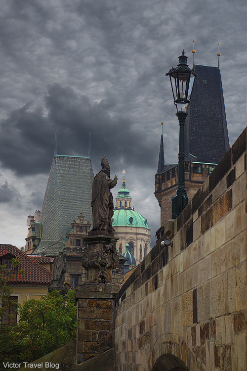 The view from under Charles Bridge. Prague, Czech Republic.