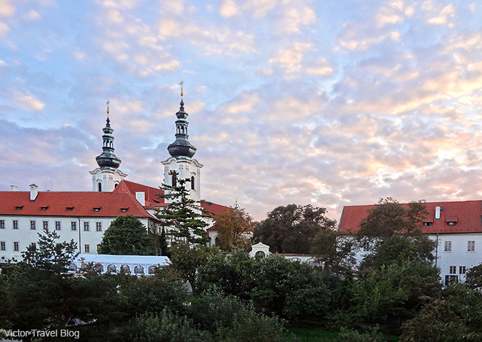 The view of Strahov Monastery from one of the rooms of Hotel Questenberk. Prague, Czech Republic.