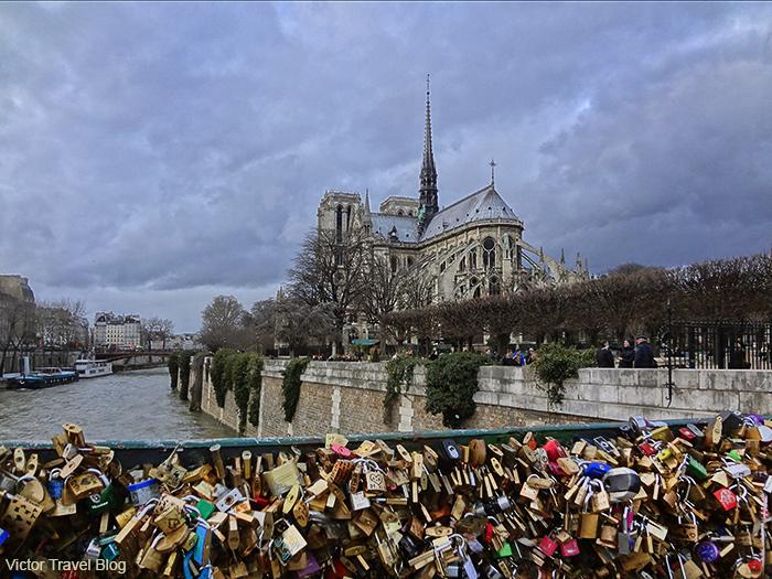 View of Notre Dame from Pont De L'archeveche. Paris, France.