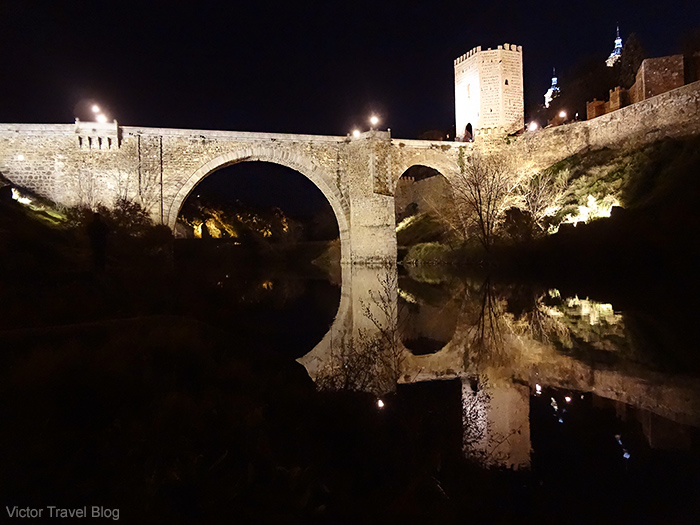 San Martin Bridge at night. Toledo, Spain.