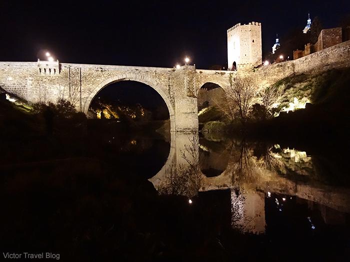 San Martin Bridge at night. Toledo, Spain.