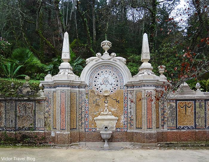 Fountain in the garden of Quinta da Regaleira. Sintra, Portugal.