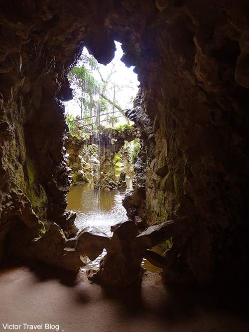 The end of one of the underpasses from Initiation Well in the garden of Quinta da Regaleira. Sintra, Portugal.