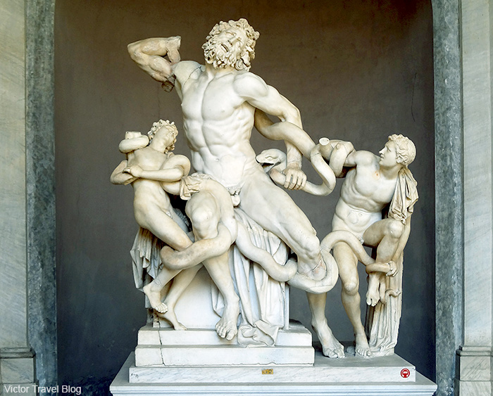 The Laocoon Group sculpture in the Vatican Museum. Rome, Italy.