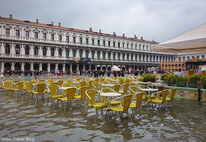 Acqua alta. St. Marko Square. Venice, Italy.