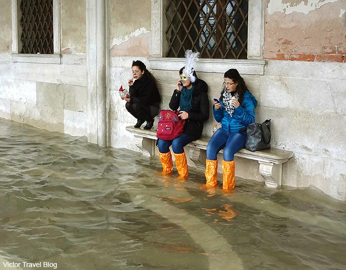 Acqua alta in Venice, Italy.