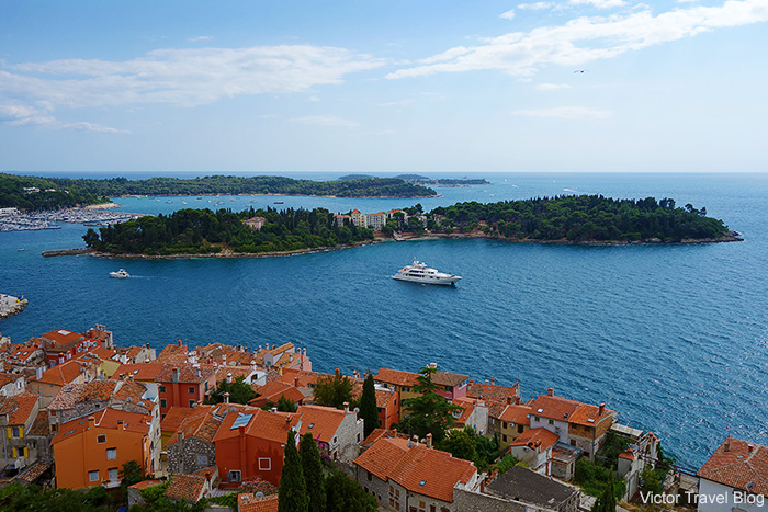 View of Sveta Katarina Island from the bell tower of the Saint Euphemia Church. Rovinj, Croatia.