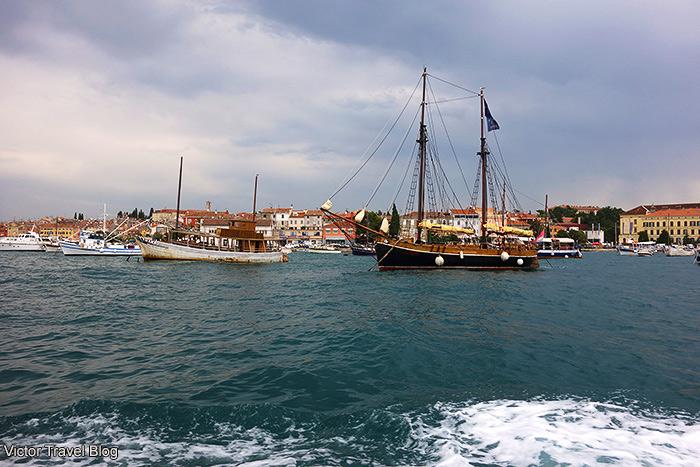 Ships in the Rovinj bay. Croatia.