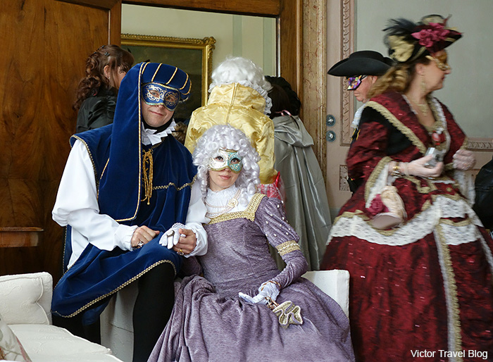 Our carnival masks. Palazzo Tiepolo Passi. Venice Carnival. Italy.