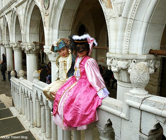 Children carnival masks. Venice Carnival. Italy.