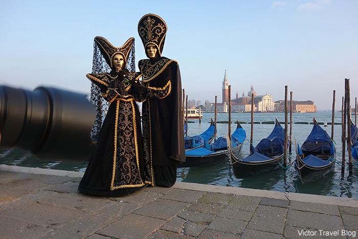 Masquerade outfits. Venice Carnival. Italy.