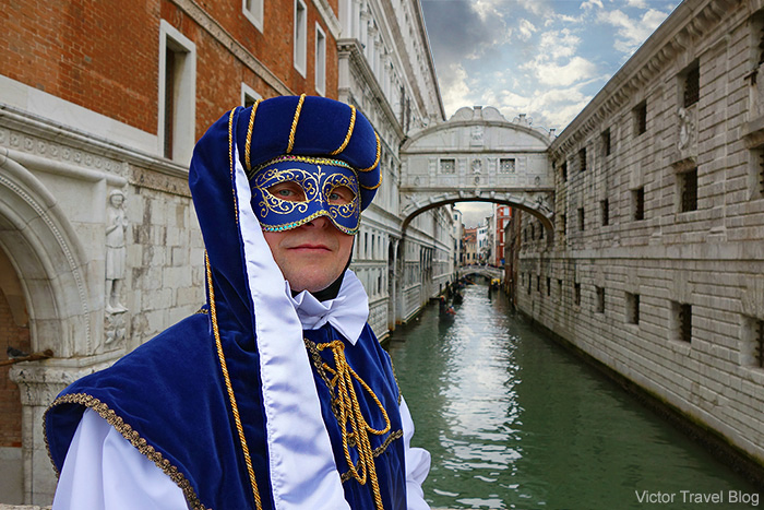 My masquerade mask at the Venice Carnival. Italy.
