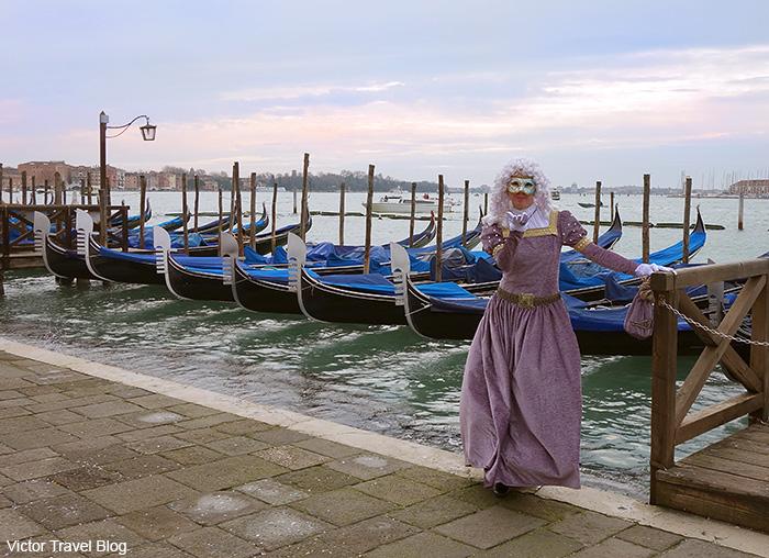 Irina in masquerade outfit. Venice Carnival. Italy.