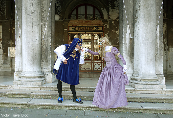 Our masquerade costumes at the Venice Carnival. Italy.
