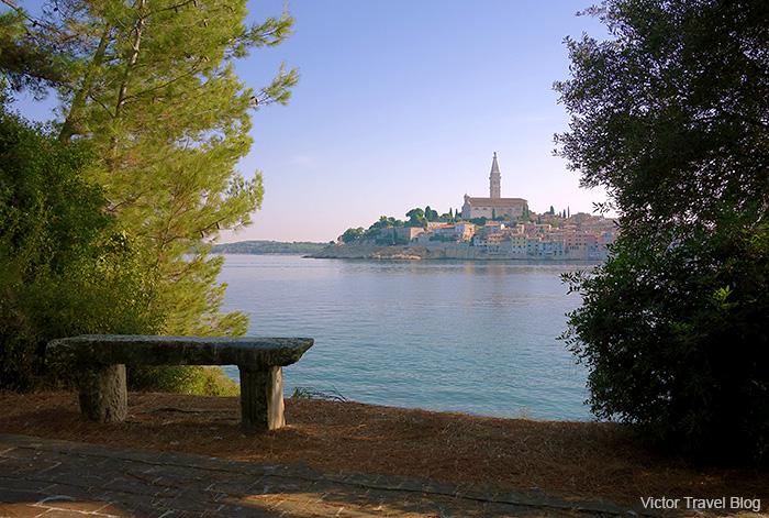 View of Rovinj from Sveta Katarina Island, Croatia.