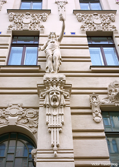 Art Nouveau Design or Jugendstil. Albert Street, 2a, Riga, Latvia.