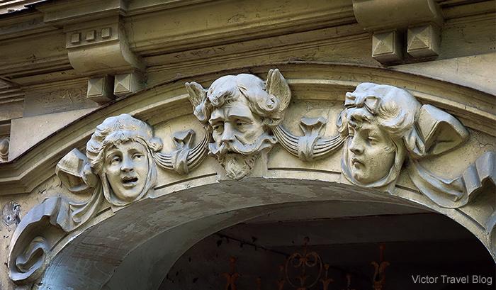 Art Deco architecture style or Jugendstil. Albert Street, 6, Riga, Latvia.