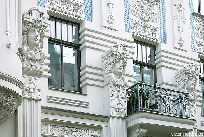 Art Deco architecture style or Jugendstil. Albert Street, 8, Riga, Latvia.