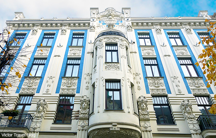 Art Deco architecture style or Jugendstil. Albert Street, 8, Riga, Latvia.