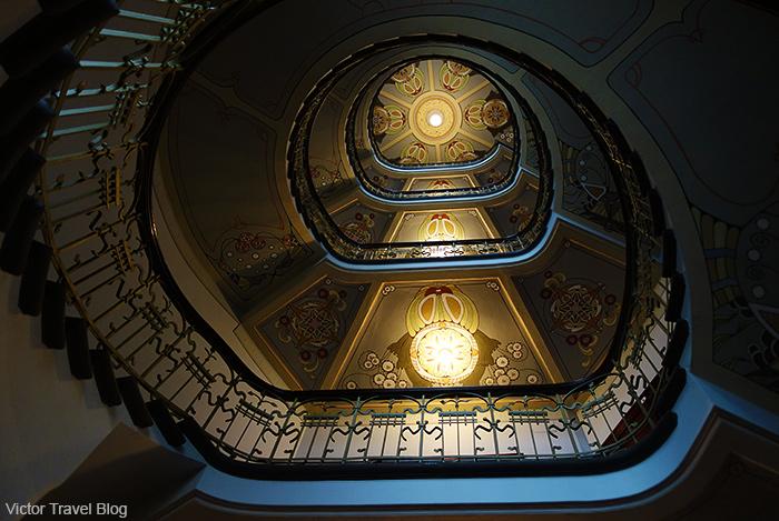 The flight of steps in the Art Nouvea Museum. Albert Street, 12, Riga, Latvia.