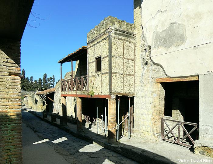 House of the Opus Craticium  or Casa a Graticcio. Herculaneum, Italy.