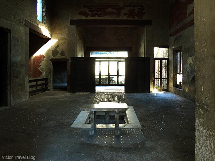 House of the Wooden Partition or Casa del Tramezzo di Legno. Herculaneum, Italy.