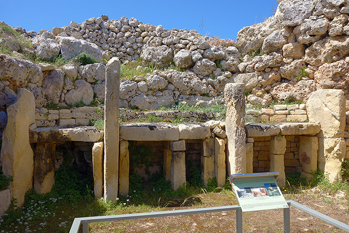 The oldest buildings of the world, one of the Prehistoric Temples of Malta. Ggantia Temple.